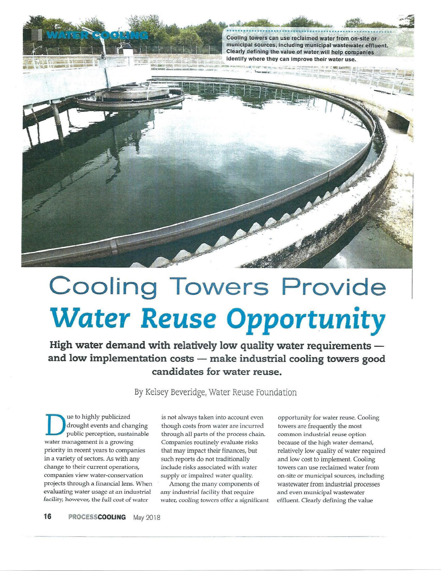 Cooling Towers Provide Water Reuse Opportunity